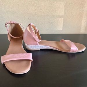 Shoes - • Ankle Strap Low Wedge Sandal •